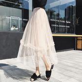 中大尺碼 2018夏百褶中長款網紗半身裙韓版新款仙女 JA2346『時尚玩家』