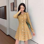 VK精品服飾 韓國風復古V領氣質荷葉邊長袖洋裝