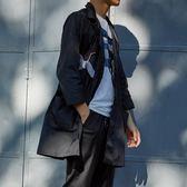2018新款外套鶴刺繡防曬衣男超薄襯衫青少年中長款七分防曬衣    西城故事