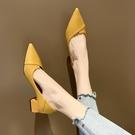 促銷全場九折 ins網紅高跟鞋粗跟新款春夏韓版百搭女鞋小清新女士兩穿單鞋