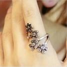 ►銀色梅花指環 藤蔓花朵環繞戒指 手飾【B2003】