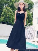 洋裝 新款吊帶長裙連身裙女夏季露肩小黑裙收腰顯瘦裙子 綠光森林