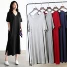 春裝大碼短袖連身裙女2020新款v領打底小黑裙夏季顯瘦莫代爾長裙 童趣屋