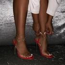 外貿性感大碼金屬電鍍跟高跟透明一字涼鞋女 夜店舞臺表演高跟鞋