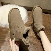 短靴冬款一腳蹬雪地靴女2019新款時尚加絨厚底棉靴子chic休閑平底短靴