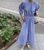 寬鬆時尚長袖6354新款chic韓式收腰條紋長款連身裙TBF-27C胖胖唯依