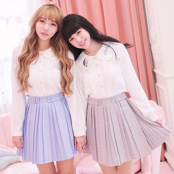 褲裙 Ruby x AKB48TeamTP設計‧格紋百褶褲裙-Ruby s 露比午茶