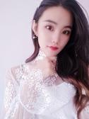 白色蕾絲打底衫女長袖內搭網紗很仙的上衣秋超仙洋氣大碼透明鏤空 韓國時尚週
