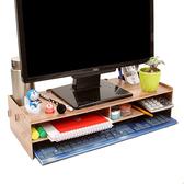 熒幕架 辦公室臺式電腦液晶顯示器屏幕增高架支架防頸椎托架木質桌面收納【快速出貨八折下殺】