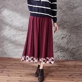 棉麻長裙-民族風格編織設計半身女裙子4色73hr23【巴黎精品】