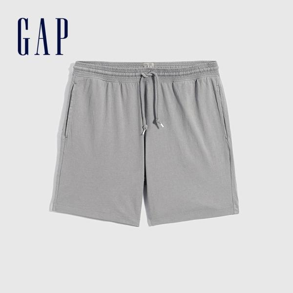 Gap男裝 紮染純棉針織運動短褲 683940-灰色