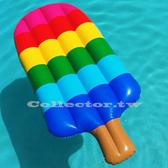 復古彩虹冰棒浮床泳圈150 公分漂浮板充氣浮圈救生圈加大加厚泳圈