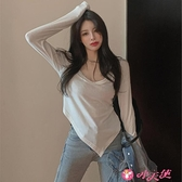 打底衫 2021年韓版大U圓領白色百搭不規則針織打底衫女春季款內搭t恤上衣 小天使