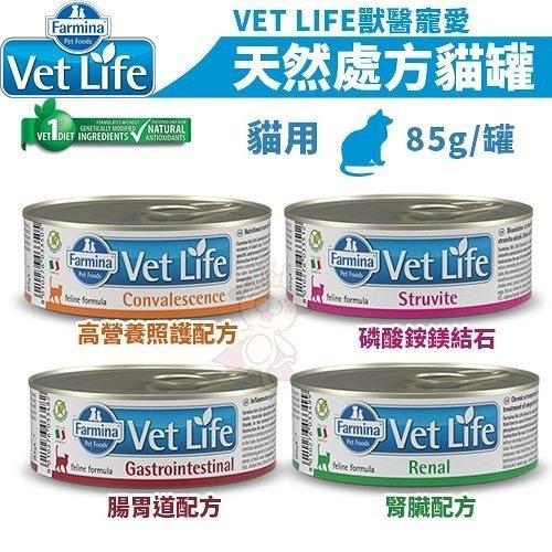 *King Wang*【24罐組】義大利法米納VET LIFE獸醫寵愛天然處方《貓咪處方罐/貓罐 多種配方可選》85g