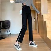 秋季2020新款設計感拉鏈開叉毛邊九分牛仔褲女百搭寬鬆黑色直筒褲 【蜜斯sugar】