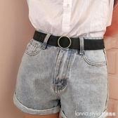 圓扣帆布腰帶男學生褲腰帶女士皮帶時尚裝飾細皮帶女簡約百搭韓國 LannaS