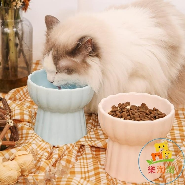 貓碗陶瓷貓咪食盆寵物高腳碗防打翻貓糧碗水碗狗碗 樂淘淘