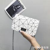 側背包少女斜挎包小包2018夏季新款菱格chic鏈條單肩小方包時尚簡約女包 LH2050【3C環球數位館】