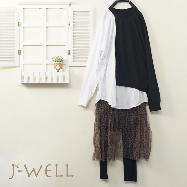 J-WELL 剪接拼色上衣豹紋內襯洋內搭褲三件組(組合A585 9J1071黑+9J1011咖+9J1014黑)
