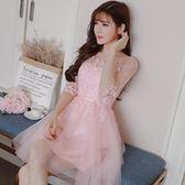 洋裝 粉色網紗連衣裙仙女名媛重手工刺繡花邊短款伴娘服主持人禮服包郵 快速出貨