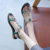 涼鞋女夏季新款韓版百搭學生水鉆波西米亞平底沙灘鞋仙女的鞋