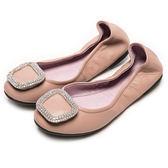 DIANA 心機折學--簡約x甜漾換釦真皮軟Q口袋鞋-芋粉★特價商品恕不能換貨★