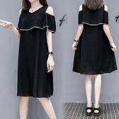 特賣款不退換中大尺碼XL-5XL韓版休閒連身裙新款大碼女裝胖妹妹顯瘦時尚雪紡連衣裙3F104-6058