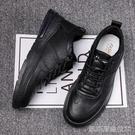 鞋男防滑防水板鞋廚房專用鞋男士小黑鞋全黑色皮鞋 【快速出貨】