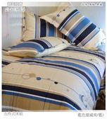 【單人床罩】/雙人配件(3.5*6.2尺)/高級五件式100%純棉單『藍色夏威夷』*╮