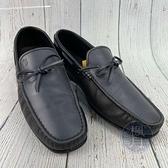 BRAND楓月 TOD S 深藍色 藍灰色 皮革 LOGO刻印 蝴蝶結裝飾 皮鞋 平底鞋 男士配件 男款 美規#7