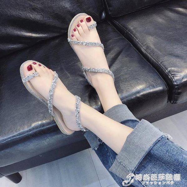 涼鞋 蛇形纏繞涼鞋女新款平底鞋仙女風網紅百搭水鑚夾趾羅馬鞋 時尚芭莎