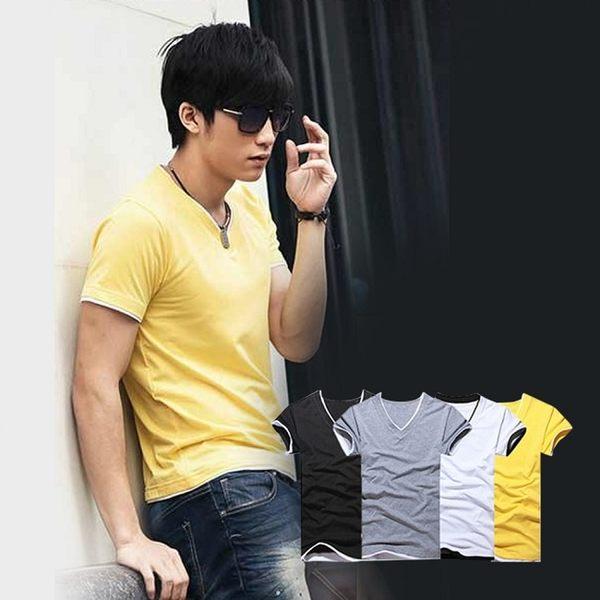 【ENNE】百搭純色假兩件短袖修身男士V領全棉T恤/黃色(Q1091-Y)