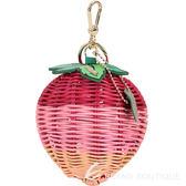 FURLA Ghiotta 草莓造型手工藤編鑰匙圈(粉色) 1820541-05