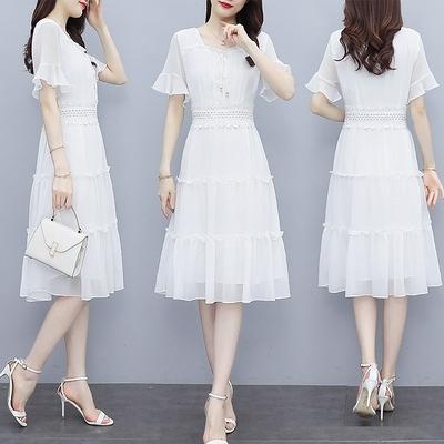 雪紡長洋裝M-3XL雪紡連身裙女夏新款法式修身收腰顯瘦溫柔氣質黑色夏天裙子NB13依佳衣