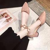 法式少女高跟鞋女2019春夏季新款晚晚鞋百搭粗跟中跟網紅尖頭單鞋 韓國時尚週