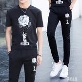青少年夏季男學生休閒衣服帥氣T恤短袖中大尺碼韓版男運動套裝PH371【彩虹之家】