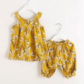 黃底花朵涼感無袖上衣+短褲套裝 連身裝 上衣 褲子 童裝