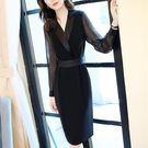 長袖洋裝 秋冬女法式連衣裙黑色女小眾輕熟新款女裝氣質時尚小香風西裝裙春 瑪麗蘇