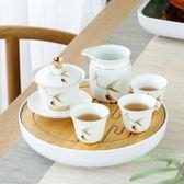 雙十二年終盛宴蓋碗茶杯茶碗陶瓷泡茶碗敬茶碗功夫茶具手繪描金白瓷三才蓋碗套裝   初見居家