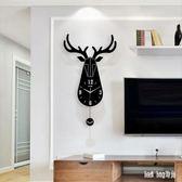 北歐鹿頭鐘表掛鐘客廳創意時尚個性掛表現代家用簡約大氣裝飾時鐘 QG25639『Bad boy時尚』