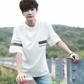 新款韓版個性短袖T恤男寬鬆學生時尚體恤衫潮青少年五分袖