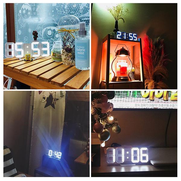 Free Shop 簡約時尚生活LED燈光造型牆面立鐘電子鐘時鐘 3D MINI LED CLOCK 數字鐘 白 粉【QAACJ7255】