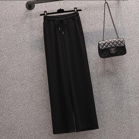 鬆緊腰休閒褲中大尺碼九分褲L-4XL薄款冰絲清涼休閑闊腿九分褲子4F057.842胖胖唯依