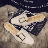 包頭拖鞋女春夏新款時尚懶人無后跟外穿半拖方扣低跟方頭涼拖 依凡卡時尚
