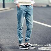 束腳牛仔褲男士青年松緊長褲子寬鬆大碼夏季學生收口褲 HH3744【極致男人】