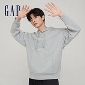 Gap男裝 碳素軟磨系列 法式圈織簡約風連帽休閒上衣 826068-淺灰色