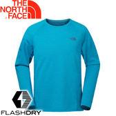【The North Face 男款 FlashDry長袖排汗衣《亮藍》】2TZME7J/長袖T恤/排汗衣★滿額送