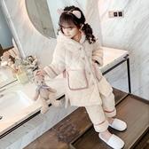 女童睡衣冬季加厚款夾棉保暖珊瑚絨兒童家居服【聚可愛】
