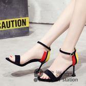 涼鞋/夏季一字扣帶細跟高跟尖頭貓跟子「歐洲站」