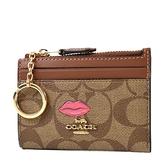 美國正品 COACH 唇印緹花LOGO防刮皮革證件鑰匙零錢包-焦糖色【現貨】